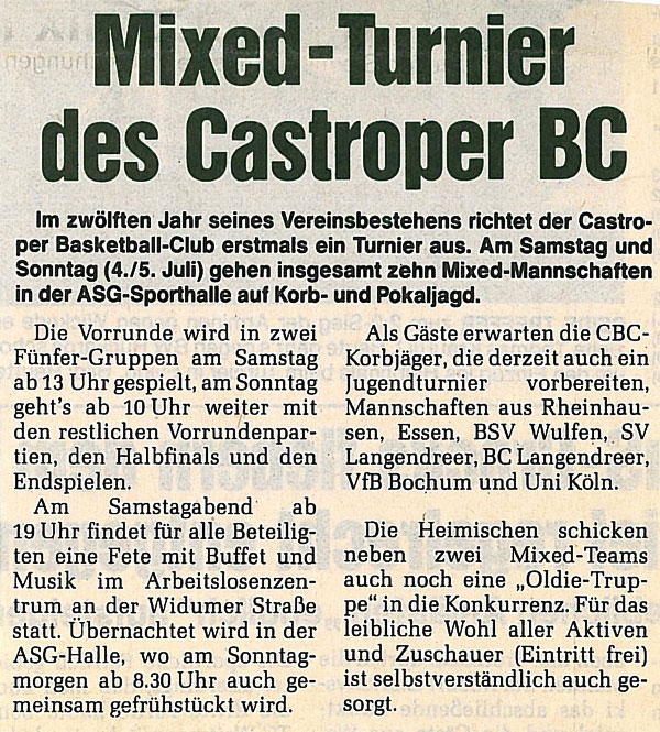 Mixed-Turnier beim Castroper BC