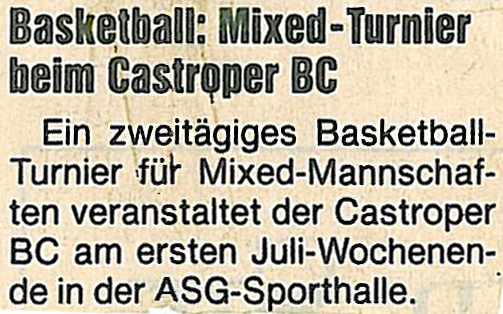 Basketball: Mixed-Turnier beim Castroper BC